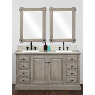 Rustic Style 60 Inch Double Sink Bathroom Vanity With Coastal Sand