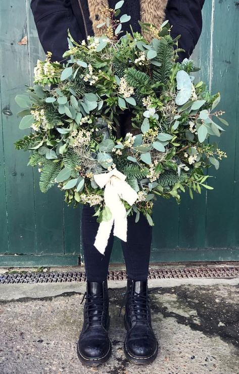 Winter greenery wreath