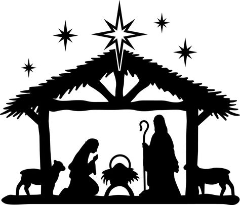 Christmas Stencils, Christmas Vinyl, Christmas Nativity Scene, Christmas Scenes, Christmas Projects, Nativity Scenes, Nativity Silhouette, Silhouette Painting, Silhouette Projects