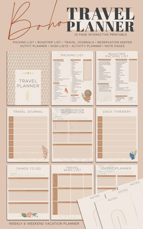 Boho Travel Planner and Packing List