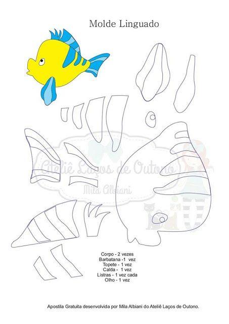 Guirlanda Princesa Ariel Com Molde Para Imprimir Peixes De