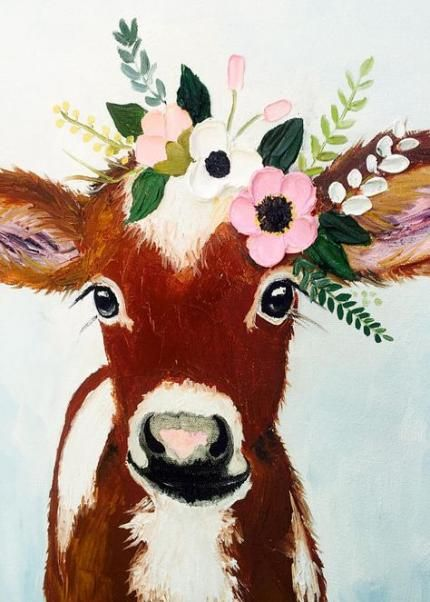 28 Ideas Painting Canvas Animals Draw Painting Cow Painting