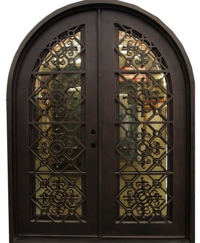 6 0 X 8 0 Crystal Arched Exterior Wrought Iron Door With Images Wrought Iron Doors