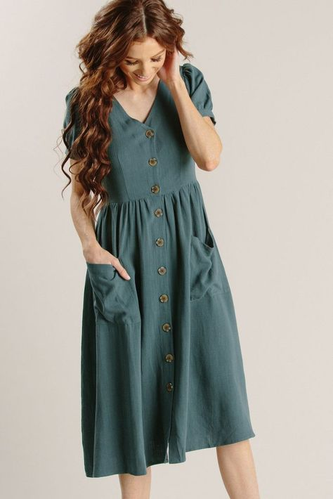 Mae Button Dress - Morning Lavender