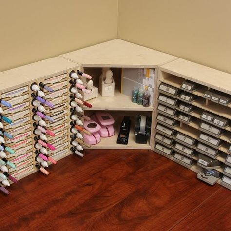 Nobody puts crafts supplies in the corner.unless they're organized on a Corner Shelf! Make use of your corner counter space with this Stamp-n-Storage Corner Shelf.