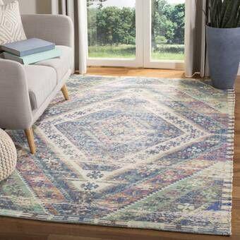 Elan Handwoven Cotton Wool Blue Area Rug Reviews Joss Main In 2020 Geometric Area Rug Area Rugs Cotton Area Rug