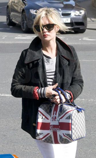 Kate with the Union Jack Sloaney Gucci bag...love it!
