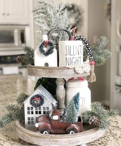 Tiered Tray Decor Ideas Farmhouse Style Tray Decor Christmas Farmhouse Christmas Decor Christmas Decor Diy