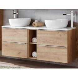 Badezimmer Doppelwaschtisch Mit 2 Keramik Aufsatzbecken Toskana 56 In Wotaneiche Breite 141 Cm Lomad In 2020 Waschtisch Holz Aufsatzwaschbecken Badezimmer Set Und Unterschrank