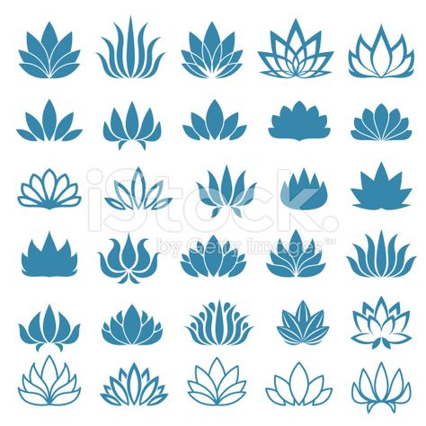 Lotus Flower Logo Assorted Icons Set Vector Illustration