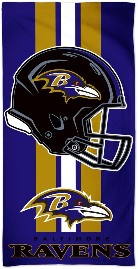 Show your team pride in the sun with the Wincraft® Baltimore Ravens Beach Towel. Team Beach Towel Fiber reactive printed for highest quality Team Spirit Features team logo Designed in team colors Additional Details 100% cotton Dimensions: 30 in. x 60 in. Officially licensed by the NFL Nfl Football Helmets, Kansas City Chiefs Football, Football Team Logos, Sports Team Logos, Baltimore Ravens Wallpapers, Baltimore Ravens Logo, Baltimore Colts, List Of Nfl Teams, Mlb Teams