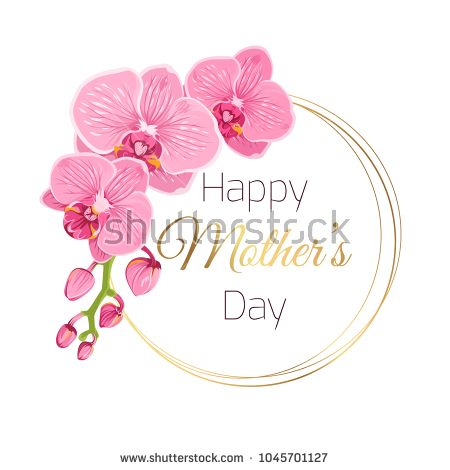 Happy Mothers Day Floral Spring Card Template Phalaenopsis Orchid Pink Flowers Round Circle Ri Mothers Day Logo Happy Mothers Day Images Spring Flower Wreath