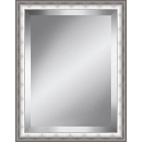Brushed Silver Beveled Plate Mirror Accent Mirrors Beveled Mirror Mirror