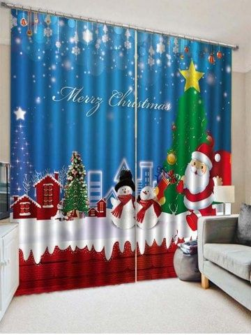 2pcs Merry Christmas Santa Claus Snowman Window Curtains Merry