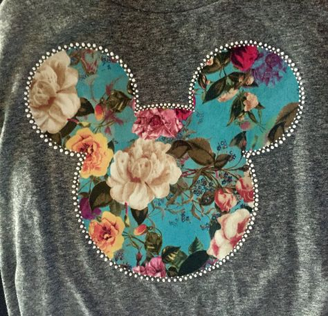 DIY Disney Shirts - iron on teal floral fabric on grey shirts and white dot puff paint mandala border