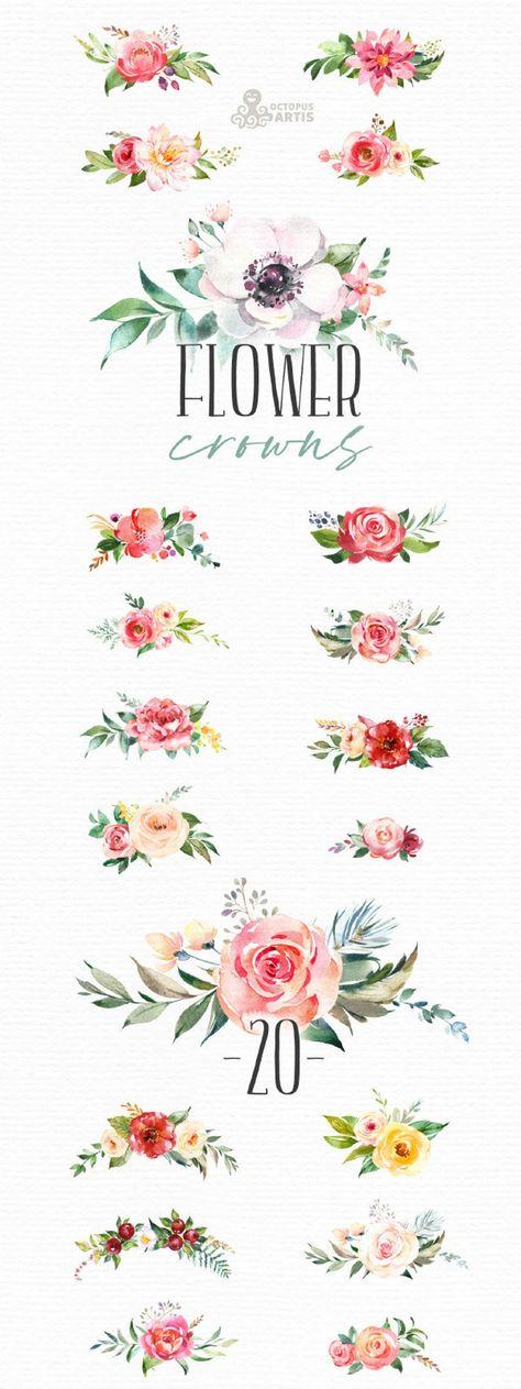 Flower Crowns. Watercolor floral clipart bouquets flowers | Etsy