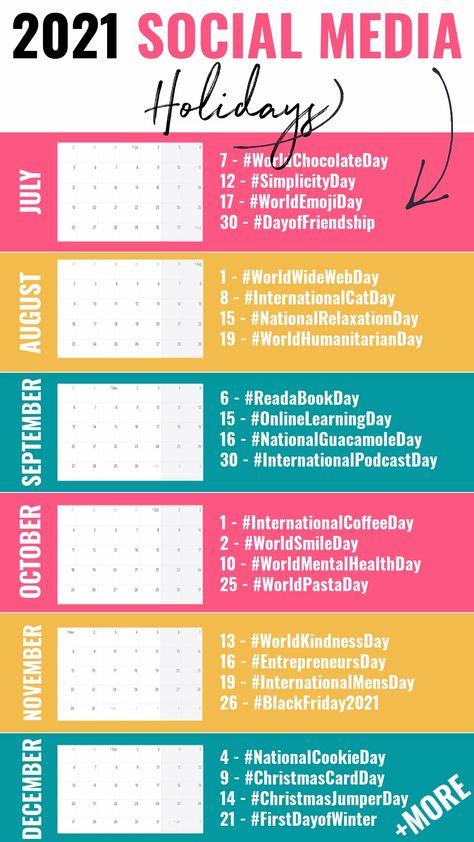 Social Media Holidays Calendar 2021 | Key Marketing Dates UK