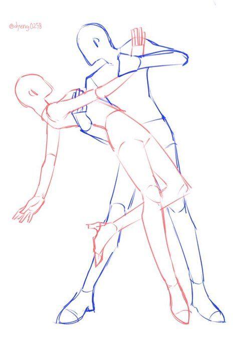 그림체 옮기기/커플 인장 on Twitter Drawing body poses Art reference Drawing base