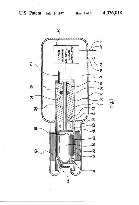 Self-starting, free piston Stirling engine US 4036018 A