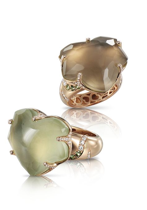 Pasquale Bruni Sensuelle Collection. Rings in pink gold with smoky quartz, prasiolite and diamonds