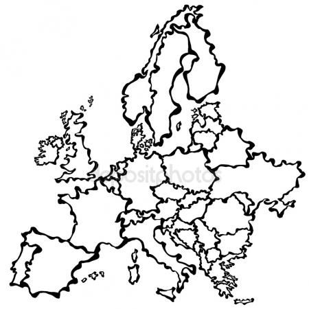 Silueta Mapa De Europa.Vector De Dibujo Mapa De Europa Vector De Stock France Map Stock Illustration Vector Drawing