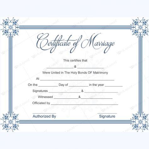 Simple Marriage Certificate Template #weddingcertificatetemplate - death certificate template word