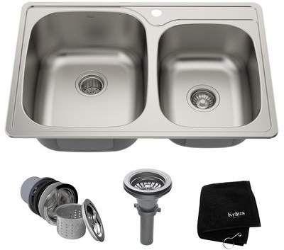 Kraus Stainless Steel 33 L X 22 W Double Basin Drop In Kitchen Sink Wayfair Kraus Stainless Steel 33 L X 22 W Doub In 2020 Doppel Spulbecken Waschbecken Edelstahl