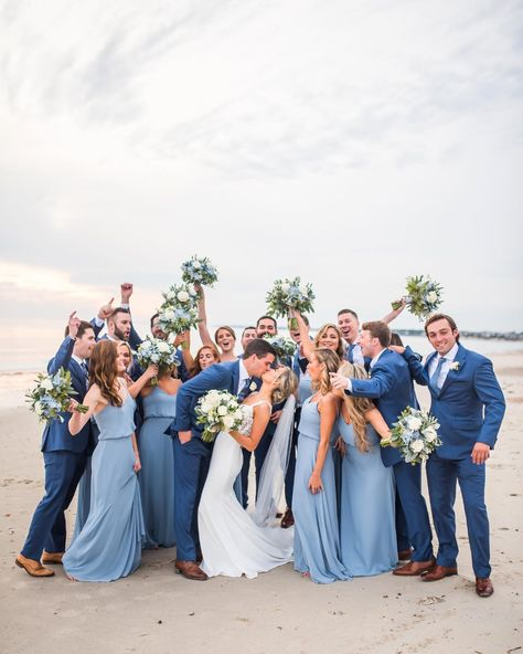 Light Blue Bridesmaid Dresses, Bridesmaid Dresses With Sleeves, Bridesmaids And Groomsmen, Wedding Dresses, Bridesmaid Gowns, Beach Wedding Bridesmaids, Casual Groomsmen, Blue Groomsmen Suits, Wedding Colors