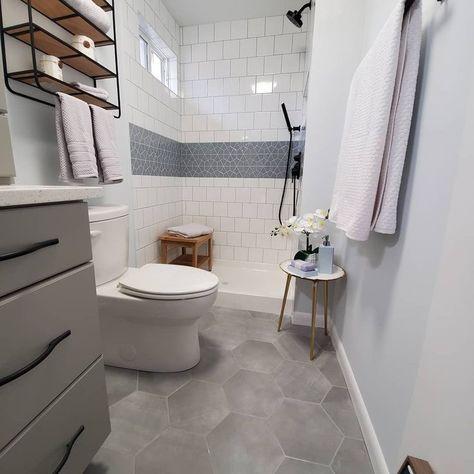 Paige Avorio Hexagon Matte Cement Look Porcelain Tile Small Full Bathroom, Small Bathroom Tiles, Small Bathroom Renovations, Condo Bathroom, Upstairs Bathrooms, Bathroom Design Small, Bathroom Interior Design, Bathroom Flooring, Basement Bathroom Ideas