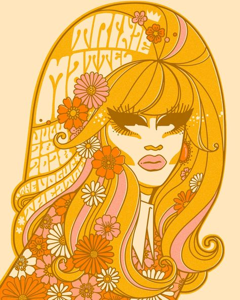 Poster for a Drag Queen's show. Credit u/crrristian Hippie Posters, Rock Posters, Concert Posters, Kunst Poster, Poster S, Poster Prints, 60s Art, Retro Art, Kunst Inspo