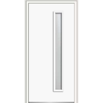 30 In X 80 In Viola Right Hand Inswing 1 Lite Frosted Modern Painted Steel Prehung Front Door On 4 9 16 In Frame Front Entry Doors Entry Doors House Design