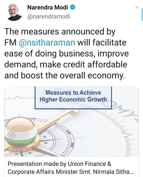 The Honorable #PrimeMinister of #India Shri @narendramodi Shri #NarendraModi tweeted about the measures announced by The Honorable #Finance #Minister of #India Smt. @nsitharaman Smt. #NirksaSitharaman yesterday which would #facilitate #ease of #doing #business #improve #demand #affordable #credit and woud further #boost the overall #Indian #Economy..Special Courtesies : Shri #NarendraModi Honorable #PrimeMinister of #India Smt. #NirmalaSitharaman Honorable #Finance #Minister of India............