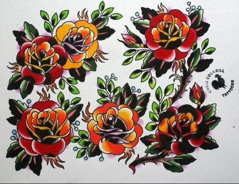 American Traditional Flower Stencils Traditional Rose Tattoo Flash