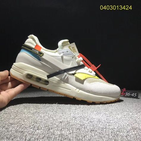 cf83039a5eab Most Popular Nike Air Max 1 OFF-WHITE Custom Greyish White Yellow Blue Black