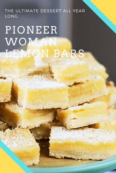 If you are looking for a delicious recipe that has a bite tart of lemon, these Pioneer Woman Lemon Bars are what you're looking for.In the past, I have made Ina Garten's lemon bars. They are delicious Dessert Simple, Simple Dessert Recipes, Smores Dessert, Dessert Bars, Dirt Dessert, Lemon Bars Pioneer Woman, Pioneer Woman Cookies, Pioneer Woman Cheesecake, Pioneer Woman Desserts