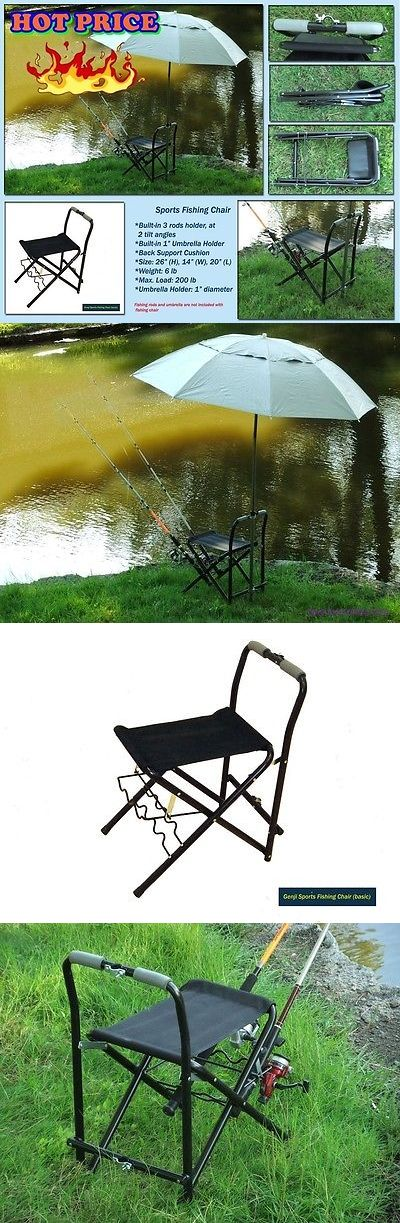 fishing chair umbrella holder posture for office chairs and seats 19985 folding w pole portable outdoor camping seat beach stool buy it now only 90 99 on ebay