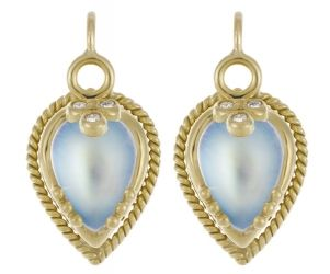 18K Chinese Bead Earrings with Blue Moonstone