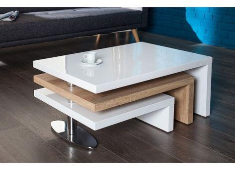 Table Basse Design En Mdf Coloris Sonoma Et Blanc Laque