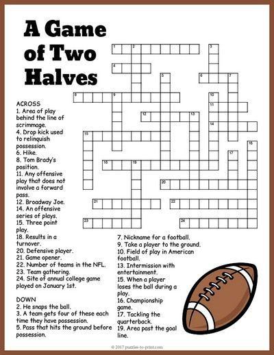 Free Printable Football Crossword In 2020 Super Bowl Activities
