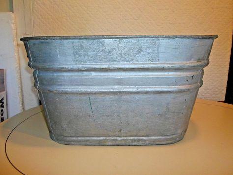 Vintage Galvanized Steel Square 62 Wash Tub Garden Decor Planter Wash Tubs Galvanized Wash Tub Galvanized Steel