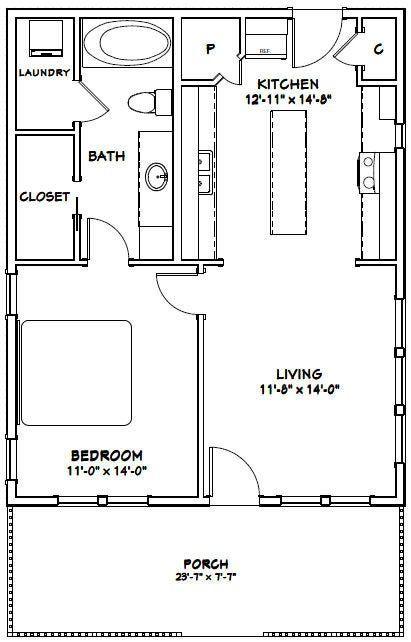 24x30 House 1 Bedroom 1 Bath 768 Sq Ft Pdf Floor Plan Etsy In