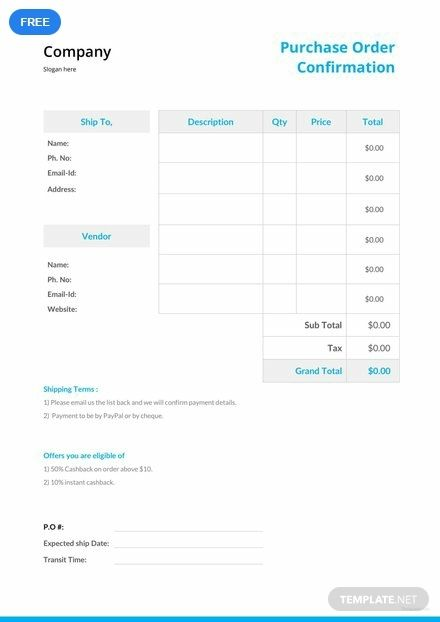 Free Purchase Order Confirmation