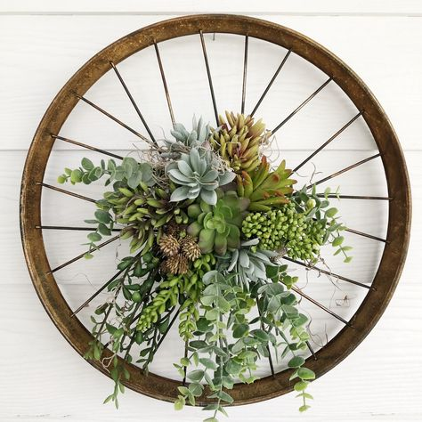 Excited to share this item from my shop: Succulent Bicycle Wheel Wreath, Everyday Wreath, Greenery Wreath, Succulent Wreath, Unique Wreath Bicycle Wheel Decor, Wagon Wheel Decor, Bicycle Rims, Bicycle Art, Bike Wheel, Bicycle Crafts, Bicycle Design, Succulent Wreath, Succulent Ideas