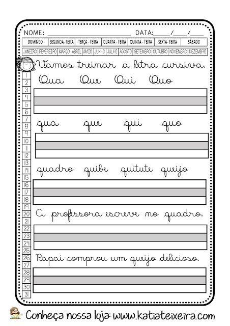 Fichas De Treino Alfabeto Cursivo Letra Q Atividades De