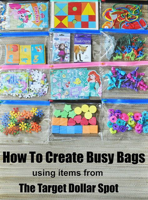 How To Create Busy Bags using items from The Target Dollar Spot Lexie Loo, Lily, Liam and Dylan Too!: How To Create Busy Bags using items from The Target Dollar Spot Quiet Time Activities, Toddler Learning Activities, Infant Activities, Preschool Activities, Toddler Airplane Activities, Preschool Binder, Kids Travel Activities, Road Trip Activities, Preschool At Home