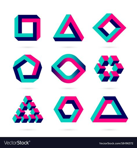 Impossible shapes optical objects vector image on VectorStock