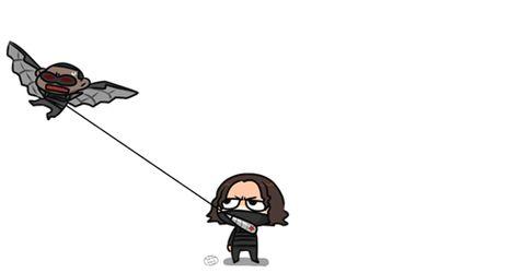"""""""Bucky, no!"""" <<--HAHAHAHA! Bucky flying Falcon like a kite"""