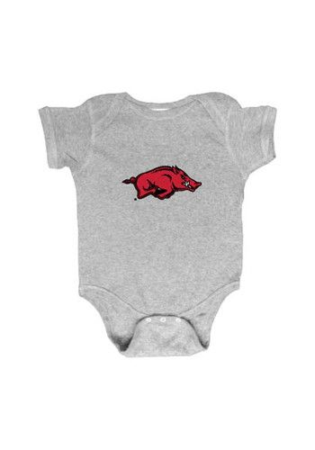 Arkansas Razorbacks Baby Grey Embroidered Logo Short Sleeve