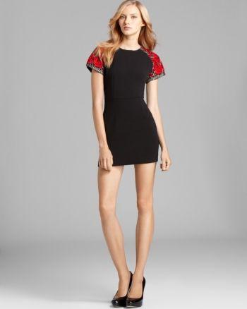 Bec Bridge Santa Ana Rose Detail Mini Dress Black Red Mini