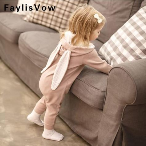 c54290b8694 Cute Rabbit Ear Hooded Baby Romper Long Sleeve Infant Jumpsuit Baby Bunny  Costume Spring Autumn Newborn Clothing Infant Outfits